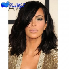 8A Glueless Full Lace Wigs Bob Cut And Baby Hair Kim Kardashian Wavy Virgin Brazilian Human Hair