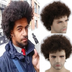 Men`s Short  Afro Kinky Curly  Wigs Human Hair Brazilian Human Hair None Lace Full Wig For Men