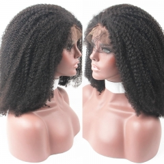 Mongolian Afro Kinky Curly Lace Front Wig 180 Density Human Hair With Baby Hair Bleached Knots