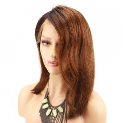 Lace Front Wigs Dark Roots Ombre 30# Color Bob Wigs for Black Women Side Part Wave Straight Wigs