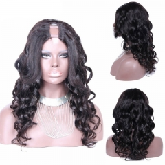 U Part Wigs Loose Wavy Brazilian Virgin Human Hair Lace Front 8-24 in stock