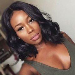 Short Bob Human Hair Wigs Natural Wavy Glueless Brazilian Body Wave Lace Front Wigs With Baby Hair For Women