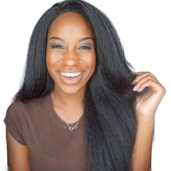Glueless Silk Top Full Lace Wigs Coarse Yaki Brazilian Human Hair Wigs With Baby Hair