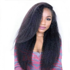 Italian Coarse Yaki 250% High Density Kinky Straight Full Lace Wig Human Hair Wigs For Black Women