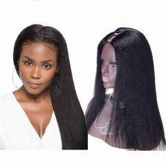 African American U Part Wigs Yaki Styles Brazilian Virgin Human Hair 8-24 in stock