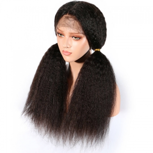 Lace Front Wigs Kinky Straight Brazilian Remy Hair Lace Front Wig with Baby Hair