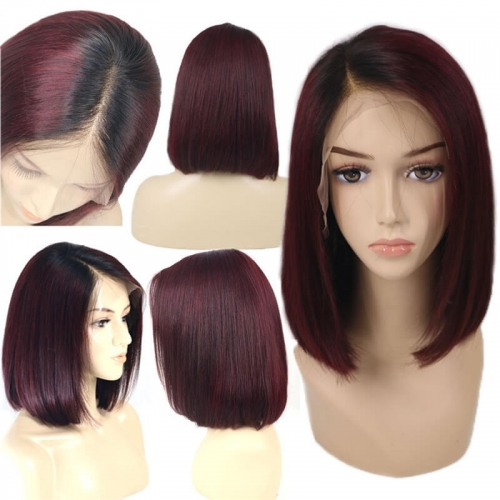 Eseewigs Short Bob 1B 99J Ombre Human Hair Lace Front Wigs With Baby Hai Straight 130% Density 100% unprocessed Brazilian Virgin Hair Wig