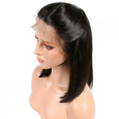Cheap Silk Base Wigs Short Bob Wig For Black Women Straight Human Hair With Baby Hair Natural Color
