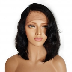 Short Bob Lace Front Wigs Natural Wave Peruvian Virgin Hair Wig Glueless Lace front Human Hair Wigs For Black Women