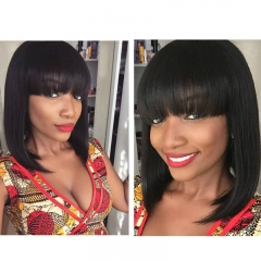 Bangs Wigs With Bob Natural Hair Front Lace Wigs Malaysia Vrigin Hair
