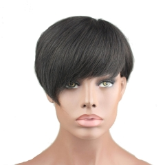 Eseewigs Best Short Human Hair Wigs With Bangs Virgin Brazilian Glueless Human Hair Wig For Black Women 1B