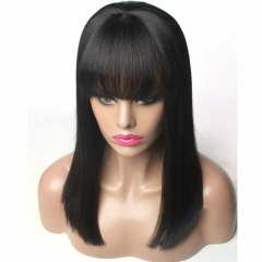 Yaki Straight Lace Front Wig With Bangs 100% Human Hair Natural Color Density 130%