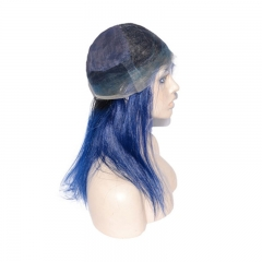 1B T Blue Full Lace Wig Ombre Color Customized Wig 130% Density Pre-Plucked Natural Hairline