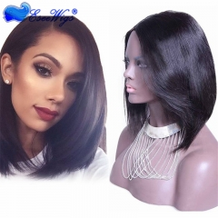 Short Bob Brazilian Virgin Hair Lace Wig U Part Lace Front Wig Straight