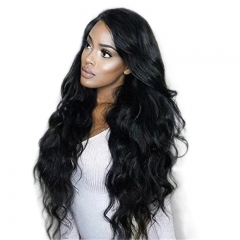 180% Density 13x6 Long Space Lace Front Human Hair Wigs With Baby Hair Peruvian Non-remy Hair For Black Women Natural Color Body Wave Glueless Full La