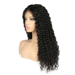 Malaysian Deep Wave Full Lace Wig Human Hair Hand Tied Virgin Hair Hair Middle Part For Black Woman 130% Density