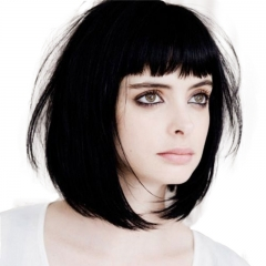 Short Black and Brown Bob Wig with Bang Real Human Hair for Women