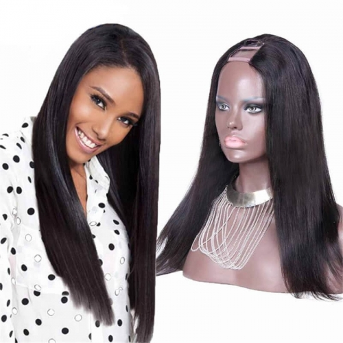 Straight Brazilian Virgin Human Hair U Part Wigs m part 8-24 in stock