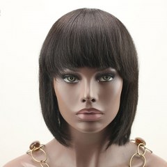 Cheap Short Bob Wig with Bangs Silky Straight None Lace Wig 2 Colors