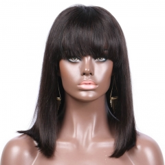 Hotsale Straight Short Bob Wigs with Bangs Human Hair Lace Front Wigs Bobo Wigs Celebrity Wig With Fringe