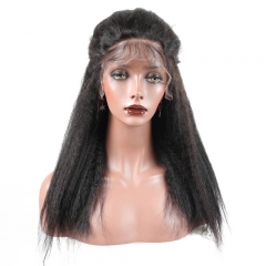250% Density Wigs Kinky Straight Pre-Plucked Glueless Human Hair Lace Front Wigs for Black Women Natural Hair Line