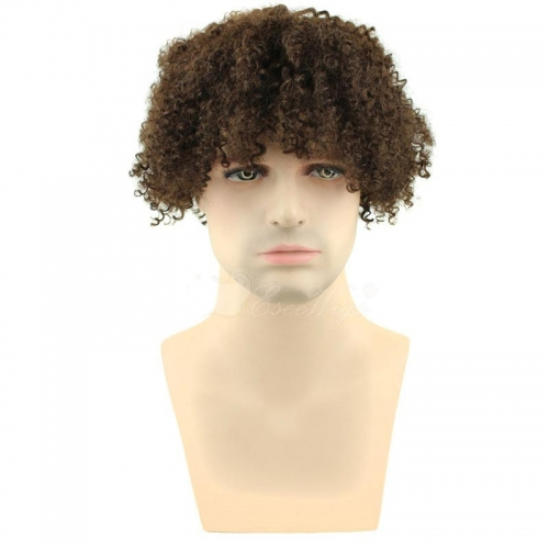 David Luiz Afro Kinky Curly Short Wig Brazilian Remy Human Hair 130% Density Short Wig for Toupee Hairpiece Men (Brown)