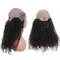 300% Density Brazilian Curly Lace Front Human Hair Wigs For Women Natural Black Pre Plucked