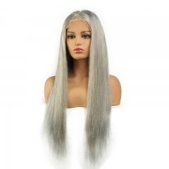 Grey Color Full Lace Wigs Human Hair Silky Straight Virgin Hair Glue less Lace Wigs