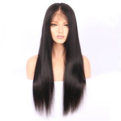 Brazilian Human Hair Full Lace Wigs Silky Straight 130 Density Lace Front Human Hair