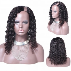 Deep Wave Brazilian Virgin Human Hair U Part Wigs Wowafrican