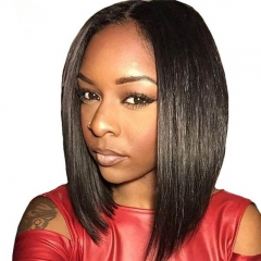 Brazilian Remy Hair Lace Front Wigs Silky Straight Short Bob Human Hair Wigs 8-14 Inches Pre Plucked lace Front Wigs for Black Women