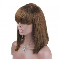 Silky Straight Brown Short Bob Lace Wig With Full Bangs Full Lace Front Wig Peruvian Human Hair 4#