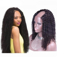 Kinky Curly Brazilian Virgin Human Hair U Part Wigs 8-24 in stock