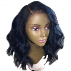 13X6 Lace Front Wigs Short Bob Wavy Human Hair Deep Part Wigs With Baby Hair 130% Natural Color Brazilian Remy Hair Wig Side Part in Stock