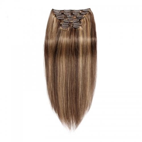 Brazilian Clip In Extensions Hightlight Color Silky Straight 120g 10pcs