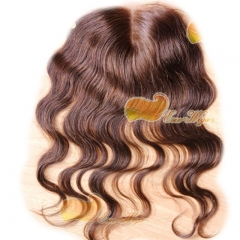 4X4 Top Lace Closure 100% Virgin Hair Peruvian Lace Closure Body Wave 4# Color With Middle Part Density 120%