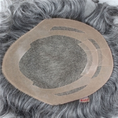 Men's Toupee 10×8 inch Human Hair 2# Mix 60% Grey Hair Thin Skin Hairpiece Hair Replacement System Monofilament Net Base for Men