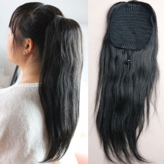 2018 New Style 100 Human Hair Ponytails 7A Brazilian Virgin Hair Straight Ponytail Hair Extension With Combs