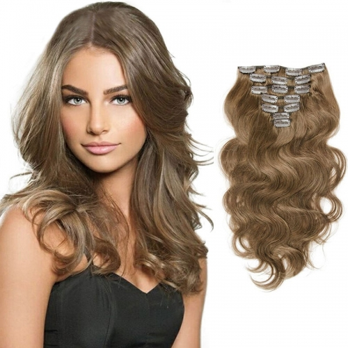 100g Hair Clip In Human Hair Extension Body Wave Brazalian Virgin Hair #8 Color