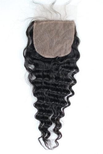 Pop And Fashion 4*4 Silk Top Lace Closure Deep Wave Human Hair Lace Closure 8-22Inch In Stock