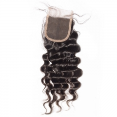 Excellent Loose Deep Wave Swiss Lace Closure  Bleach Knots  4*4  Unprocessed Human Remy Hair Brazilian Hair 120% density