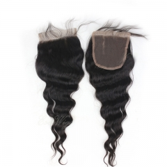 Malaysian Human Remy Hair Loose Wave Closure Bleached Knots Closure Swiss Lace 4*4 Middle Free Part Lace Closure