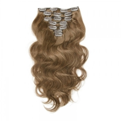 70g 7pcs Hair Extension Clip in Body Wave Ash Brown 8# 99J# Color