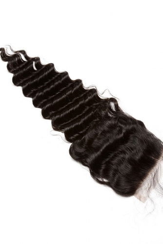 Deep Wave Unprocessed Human Hair 4*4 Swiss Lace Closure Natural Black