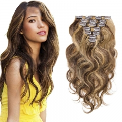 100g Natural Body Wave Clip In Hair Extension Highlight Color 7pcs