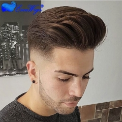 Dark Brown 4# Men's Hairpiece Human Hair Toupee Wig Super Thin Skin Hair 8x10