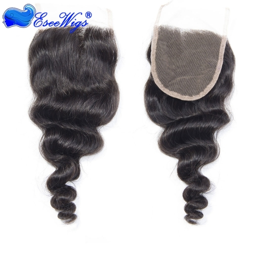 7a Peruvian Virgin Hair Loose Wave Lace Closure Loose Wave Human Hair Weave 4x4 Free Part Three Part 120% density natural color 1pc