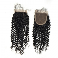 3 Bundles with Lace Closure 5x5 Brazalian Virgin Hair Human Hair Kinky Curly 120%Density Natural Color