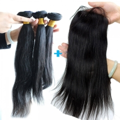 Silky Straight Brazalian Virgin Hair 3 Straight Bundles with 4x4 Lace Closure
