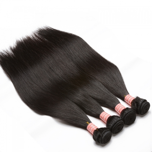 Natural Color Silky Straight Malaysian Virgin Human Hair Extensions 4 Bundles